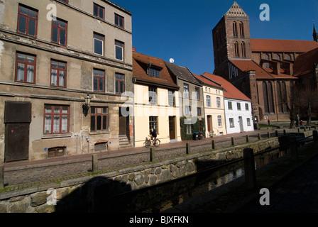 Historic buildings in Wismar, Mecklenburg-Western Pomerania, Germany. - Stock Photo