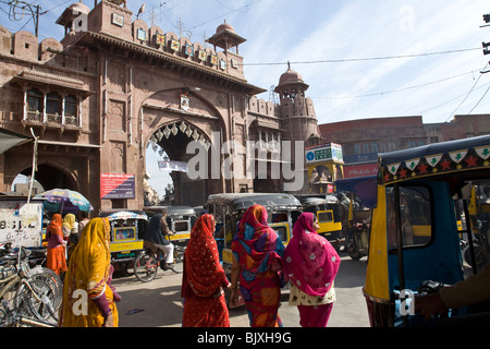 Indian women at Kote Gate. Bikaner. Rajasthan. India - Stock Photo