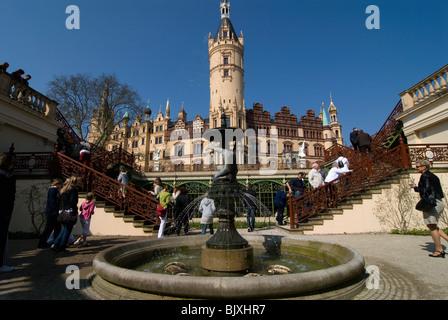 Castle of Schwerin, Mecklenburg-Western Pomerania, Germany. - Stock Photo