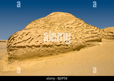 Shot of landscape  showing wind erosion in the Valley of The Whales, Wadi El-Hitan, Western Desert of Egypt - Stock Photo
