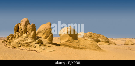 Panoramic shot of landscape  showing wind erosion in the Valley of The Whales, Wadi El-Hitan, Western Desert of - Stock Photo