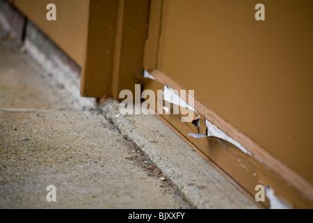 Paint peeling on Garage door - Stock Photo