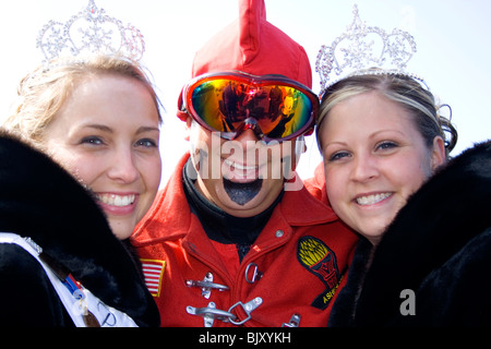 Winter Carnival royalty with Vulcan participating in the parade. St Paul Minnesota USA - Stock Photo
