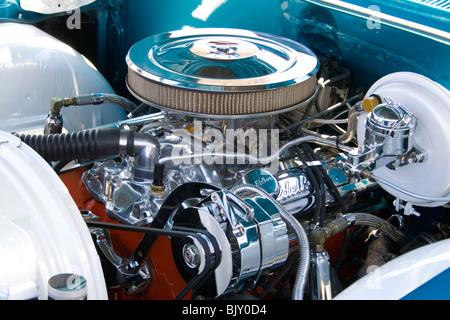 Beautifully chromed engine in a custom Lowrider car. Cinco de Mayo Fiesta St Paul Minnesota USA - Stock Photo