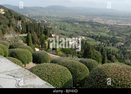 A spectacular view of the plain and Florence below Fiesole from Via di San Francesco. Fiesole, Tuscany, Italy, Europe. - Stock Photo