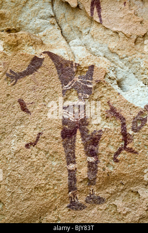 Rock art in the Cave of Swimmers near Cave of the Archers, Wadi Sura area of Gilf Kebir region of Egypt's Western - Stock Photo