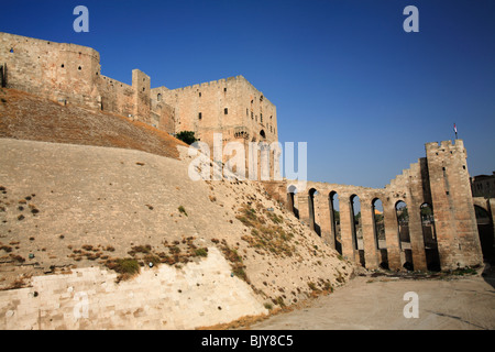 The ancient walls of the citadel of Aleppo, Syria - Stock Photo