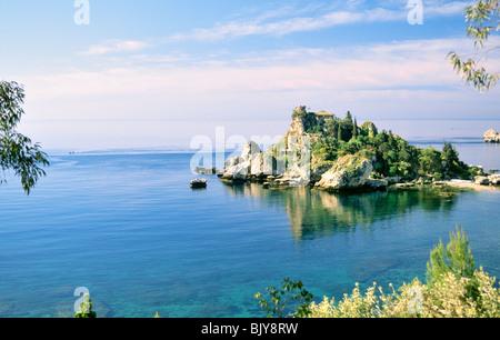 Sicily, Italy. House on the tiny island of Isola Bella near Taormina