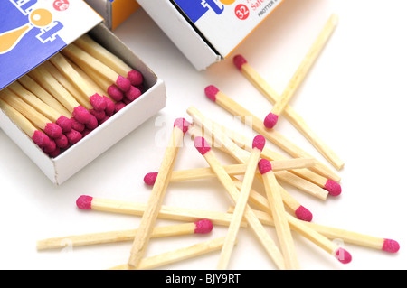 Box of Matches and Matches scattered - Stock Photo