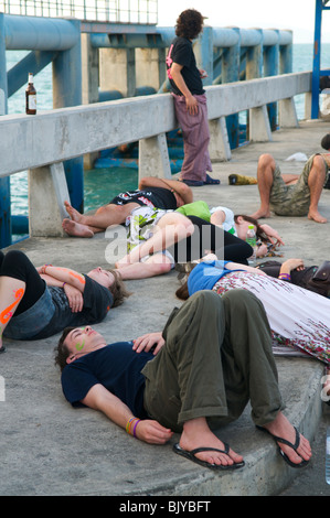 The morning after the full moon party in Koh Phangan Thailand - Stock Photo