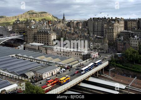 Waverley Railway Station, Waverley Bridge, North Bridge & Arthur's Seat seen from Scott Monument, Edinburgh, Scotland - Stock Photo