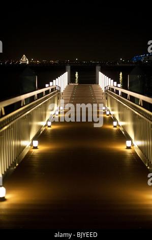 Illuminated jetty in Yokohama, Japan - Stock Photo