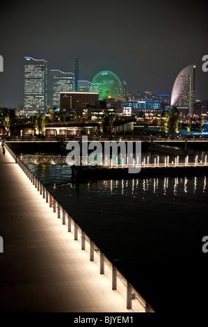 Illuminated buildings in Yokohama, Japan - Stock Photo