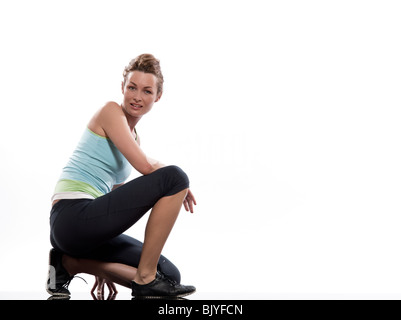 woman doing workout on white isolated background - Stock Photo
