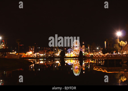 The Florida State Fair at night in Tampa, Florida, USA - Stock Photo
