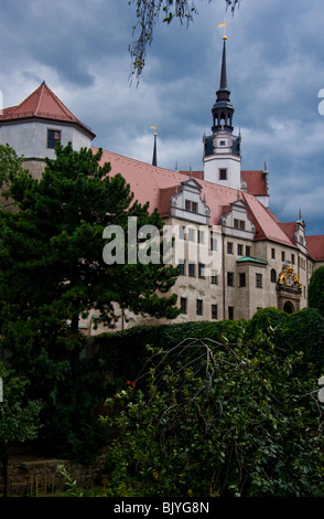 Schloss Hartenfels under a stormy sky in Torgau Eastern Germany - Stock Photo