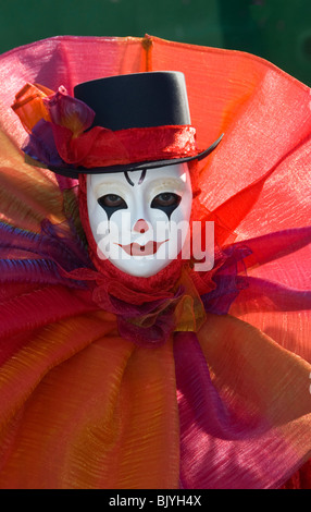 Venice, Italy, Carnival participant costumed as a clown - Stock Photo
