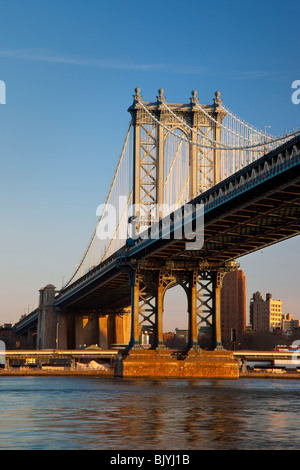 Early Morning at the Manhattan Bridge in New York City USA - Stock Photo