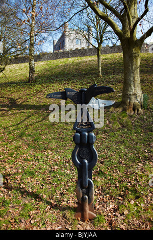 National Cycle Network Signpost near Abergavenny Castle, - Stock Photo