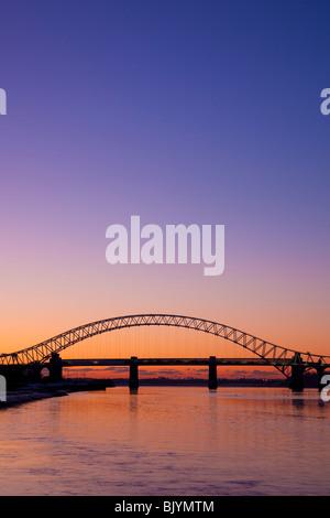 The Runcorn Widnes Silver Jubilee Bridge over the River Mersey - Stock Photo