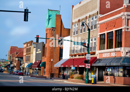 Shops in historic buildings on Main Street in downtown Elkhart, Indiana - Stock Photo