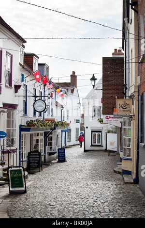 Narrow Streets and shops  around Lymington quay on the edge of the new forest in England. - Stock Photo