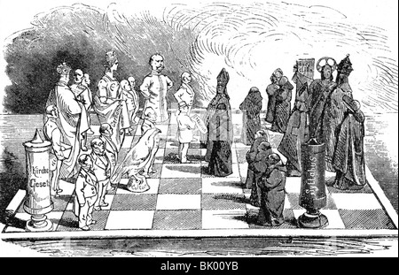 geography / travel, Germany, politics, 'culture struggle', caricature, opponents as chess figures, drawing from - Stock Photo