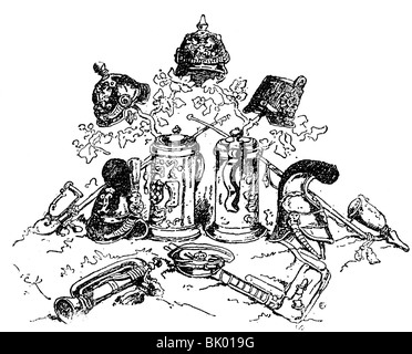geography / travel, Germany, politics, German unification, French caricature, 1870s, Additional-Rights-Clearances - Stock Photo