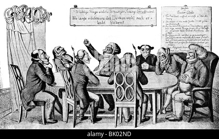 geography / travel, Germany, politics, censorship, caricature 'Der Denkerclub' (The Thinkers Club), circa 1820, - Stock Photo