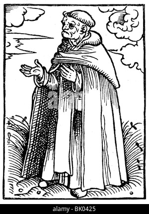 religion, religious orders, Dominican Order (Order of Preachers, Ordo de Praedicatorum), monk in habit, illustration - Stock Photo