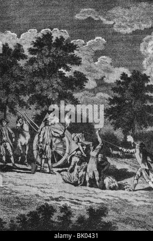 medicine, diseases, pandemic diseases, pestilence, burying dead persons in the ground, copper engraving, England, - Stock Photo