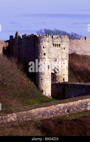 Carisbrooke Castle gates and outer wall, Isle of Wight, England, UK - Stock Photo