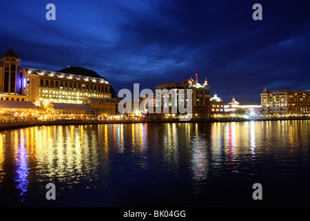 night view of waterfront in port louis,mauritius,africa - Stock Photo