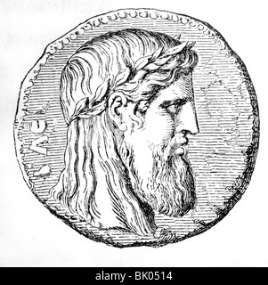 Zeus (Latin: Jupiter), Greek 'divine king', leader of gods, god of sky and thunder, portrait, wood engraving, 19th - Stock Photo