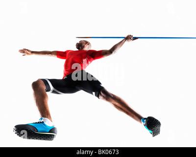 Male Athlete preparing to throw javelin - Stock Photo