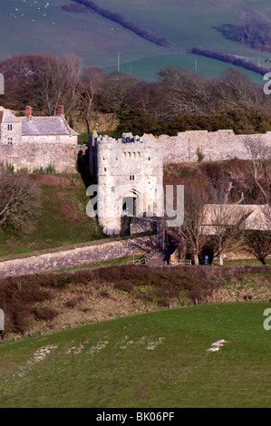 Carisbrooke Castle gates and outer wall Isle of Wight England - Stock Photo