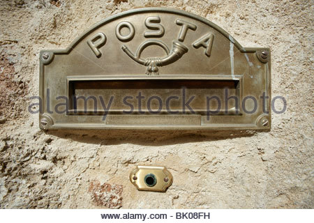 Italian letter box Old Town Rhodes Greece - Stock Photo