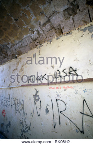 Anti American graffiti writing on a wall in Old Town Rhodes Greece - Stock Photo