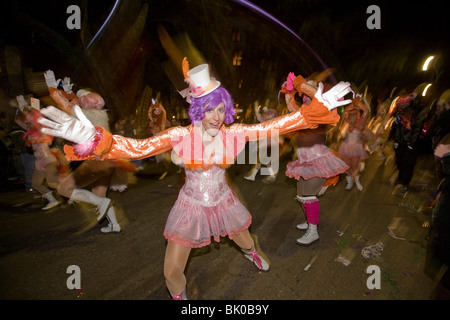 Muses, one of many parades of Mardi Gras, New Orleans, Louisiana - Stock Photo