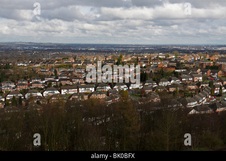 A view over Sedgley and surrounding towns in the Black Country (English West Midlands) showing expansive housing - Stock Photo