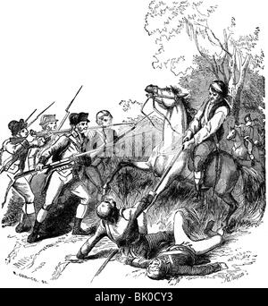 events, American Revolutionary War 1775 - 1783, skirmish between British and puritans, wood engraving,  19th century, - Stock Photo