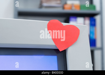 Heart Shape Symbol On Adhesive Note Close Up Stock Photo 36718234