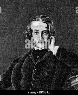 Bulwer-Lytton, Edward, 1. Baron Lytton, 25.5.1803 - 18.1.1873, British politician and author / writer, half length, - Stock Photo