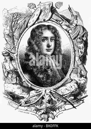 Graham of Claverhouse, John, 1st Viscount Dundee, 21.7.1648 - 27.7.1689, Scotish General, portrait, wood engraving, - Stock Photo