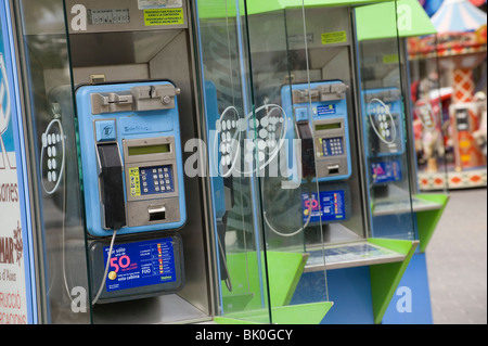 Public telephones in Mallorca, Spain. - Stock Photo