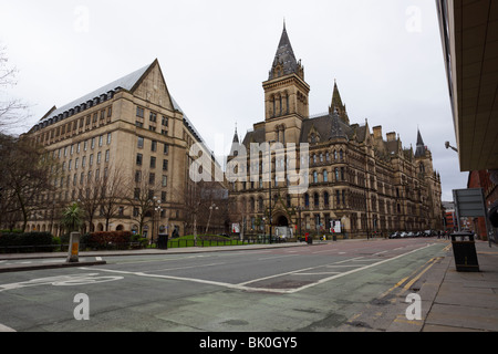 Manchester Town Hall,viewed from a low level on Princess Street in the heart of the City of Manchester. - Stock Photo