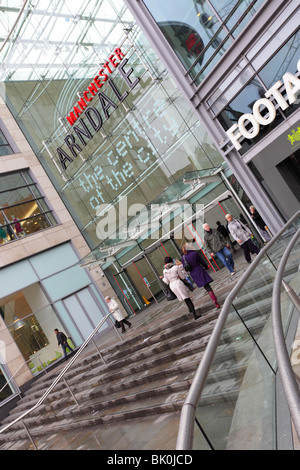 The Exchange Square entrance to the Arndale Centre/Center in the heart of Manchester. - Stock Photo