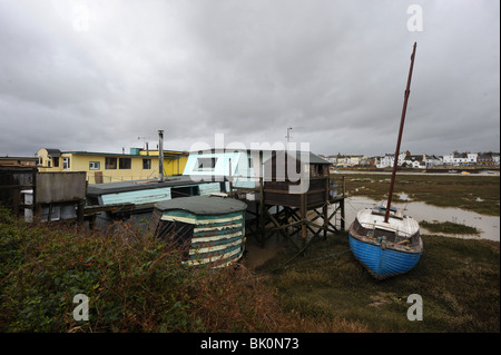 Houseboats on the banks of the River Adur in Shoreham West Sussex - Stock Photo