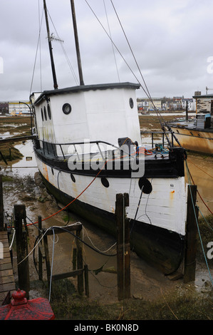 Houseboats on the banks of the River Adur in Shoreham-by-Sea West Sussex UK - Stock Photo
