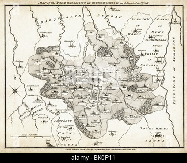 cartography, historical maps, map of the Principality of Mindelheim, 1706, published in London, 1818, Germany, Holy - Stock Photo